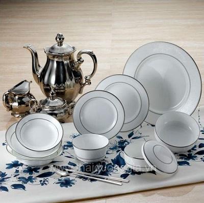 Bộ Đồ Ăn Silver White 2 Viền Bạc
