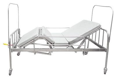 Giường y tế 2 tay quay inox