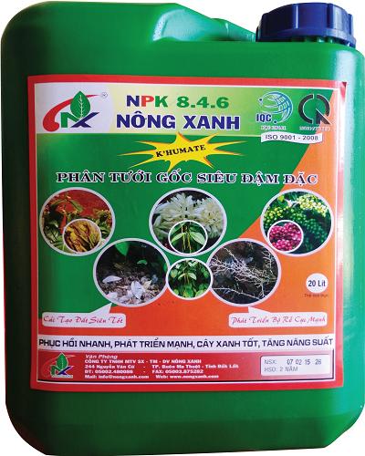 Can tưới siêu đậm đặc NPK 8-4-6 Nông Xanh 20 lít