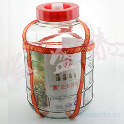 Bình Ngâm Thủy Tinh Quai Dù Nắp Nhựa 20l