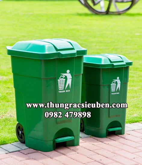 Thùng rác HDPE 70L đạp chân