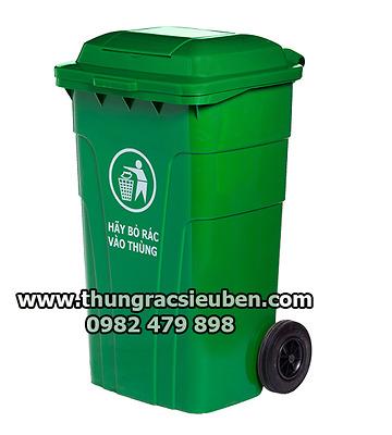 Thùng rác HDPE 150L nắp kín