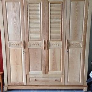 Tủ quần áo kết hợp cửa chớp gỗ Tần bì