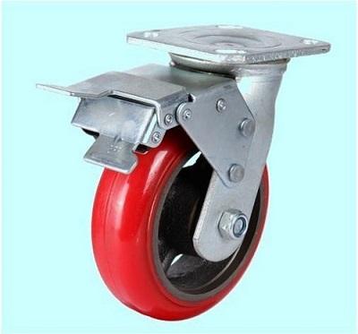 Bánh xe đẩy GLOBE PU đỏ lõi sắt Series EH