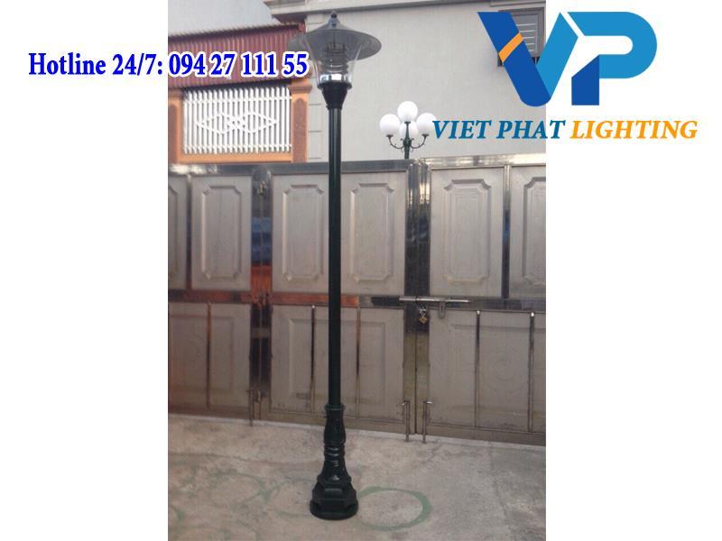 Cột đèn DC02 lắp đèn đầu nấm kính trong