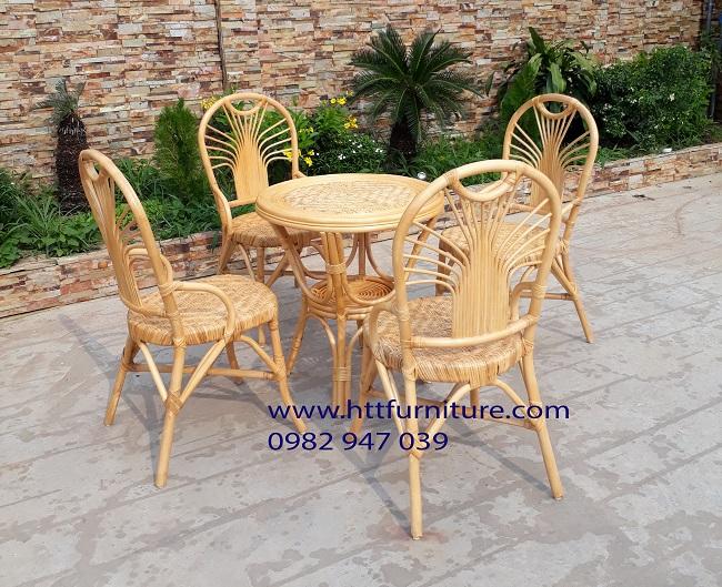Bộ bàn ghế Cafe mây tự nhiên HTT-CFM2